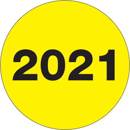 "2"" Circle - ""2021"" (Fluorescent Yellow) Year Labels"